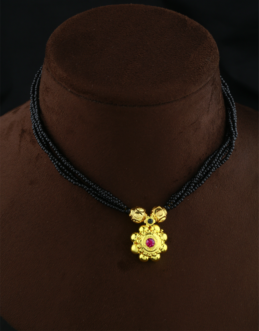 Adorable Gold Tone Adorable Fancy Thushi Necklace|Black Beads Thushi Mangalsutra For Women & Girls