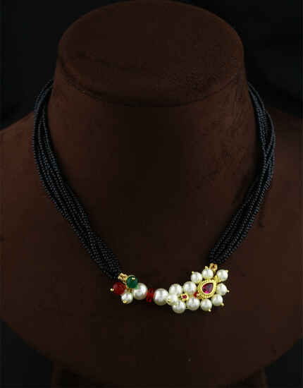 Exclusive Pink-Green Colour Traditional Thushi Necklace For Women|Traditional Black Beads Thushi Mangalsutra For Women