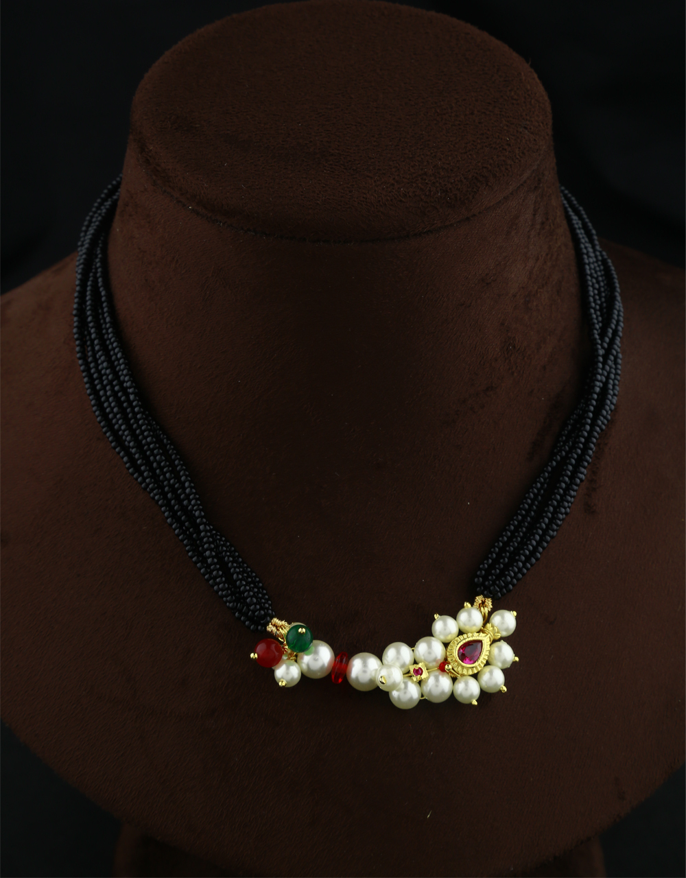 Exclusive Pink-Green Colour Traditional Thushi Necklace For Women Traditional Black Beads Thushi Mangalsutra For Women