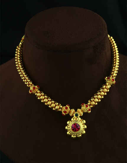 Dazzling Pink-Gold Thushi Jewellery For Women Gold|Kolhapuri Thushi Jewellery Set|Traditional Thushi Choker Golden