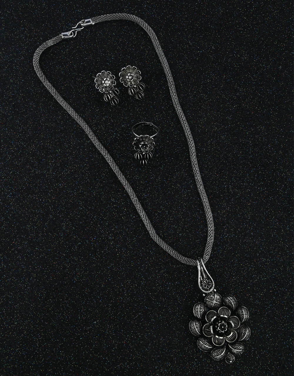 Adorable Oxidized Chain Pendant Earrings With Finger Ring Combo Set|Trendy Traditional Necklce Pendant Set For Women