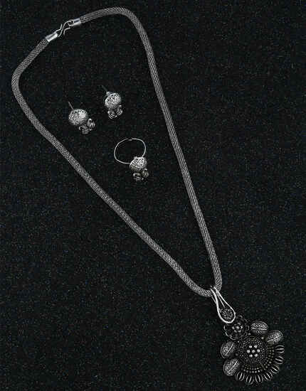 Stunning Oxidized Finish Adorable Trendy Chain Pendant With Earrings & Finger Ring Combo For Stylish Women