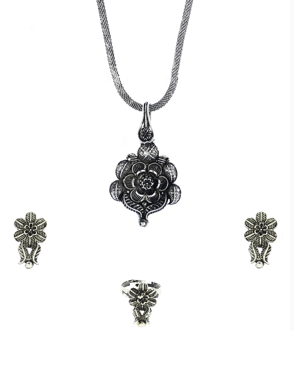 Latest Silver Oxidized Adorable Chain Pendant Set |Earrings With Finger Ring Combo Set |Party Wear Traditional Chain Pendant Set