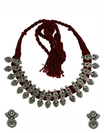 Exclusive Maroon Colour Oxidized Necklace Set|Thread Necklace|Navaratri Jewellery For Women|Tribal Necklace Set