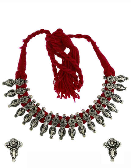 Classy Oxidized Silver Thread Necklace For Women|Tribal Necklace For Women|Navaratri Jewellery For Women