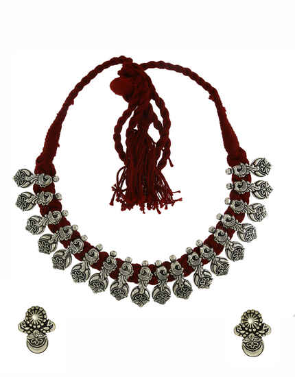 Beautiful Maroon Colour Traditional Necklace Set|Tribal Necklace Set|Oxidised Necklace Set For Women & Girls