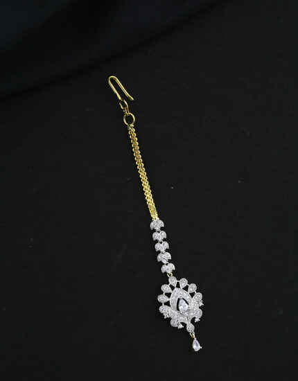 Gold-Silver Tone American Diamond Mang Tikka For Women