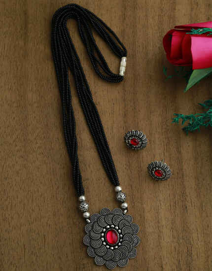 Stunning Silver Tone Traditional Long Mangalsutra Set For Designer Women| Long Pendant Set With Earrings