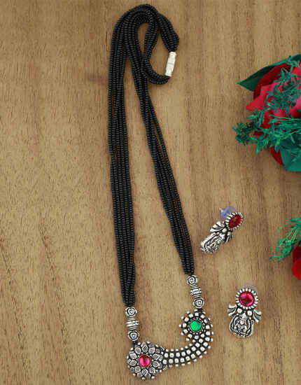 Exclusive Tribal Mangalsutra Set | Designer Long Necklace Set|Mangalsutra With Earrings Set For Women