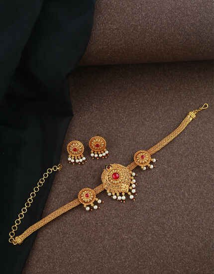 Latest South indian Jewellery|Geru Polish Choker Necklce Set|Traditional Necklace Set For Women & Girls