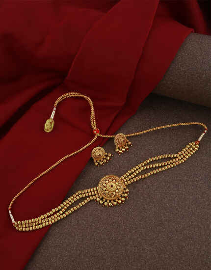 Fashionable Matte Gold Finish Choker Necklace Set|Matte Finish Trendy Necklace For Women & Girls|Traditional Jewellery