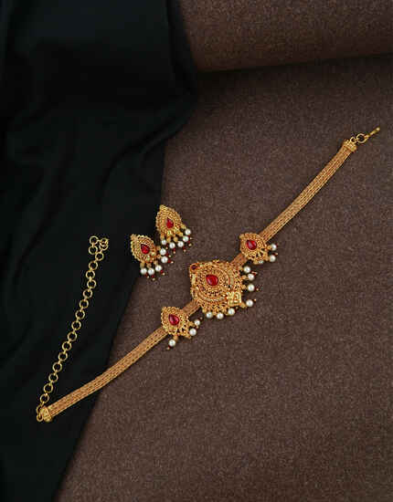 Classy Golden Finish Traditional Necklace Set For Women|Desinger Temple Traditional Necklace Set