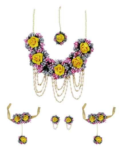 Stunning Purple and Yellow Colour Flower Jewellery for Women Wedding