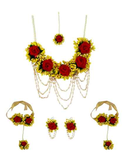 Dazzling Yellow and Red Colour Flower Necklce for Baby Shower