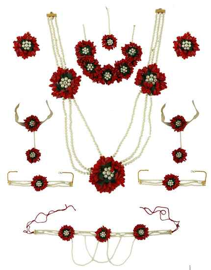 Red Colour Flower Necklace for Women Latest Design