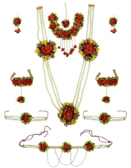 Classy Yellow and Orange Colour Flower Necklace