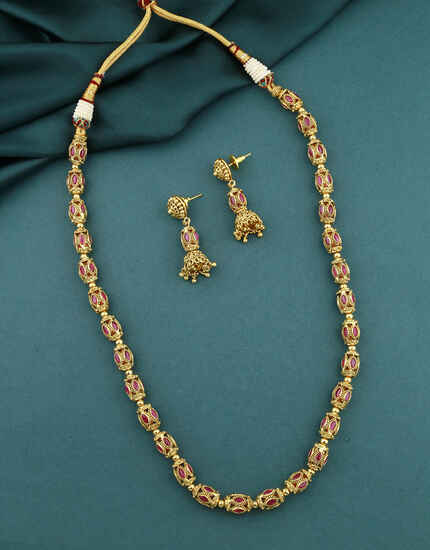 Exclusive Pink Colour Traditional Long Necklace Set |Maharashtrian Long Necklace For Women & Girls|Bormala,Beads Necklace