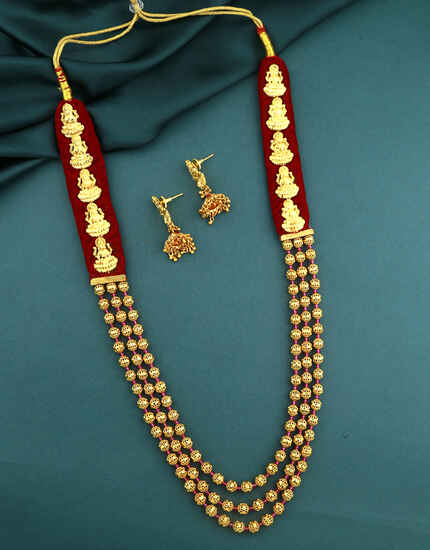 Stunning Gold Tone Temple Jewellery For Women|Traditional Long Necklace Set|South Indian Jewellery For Women