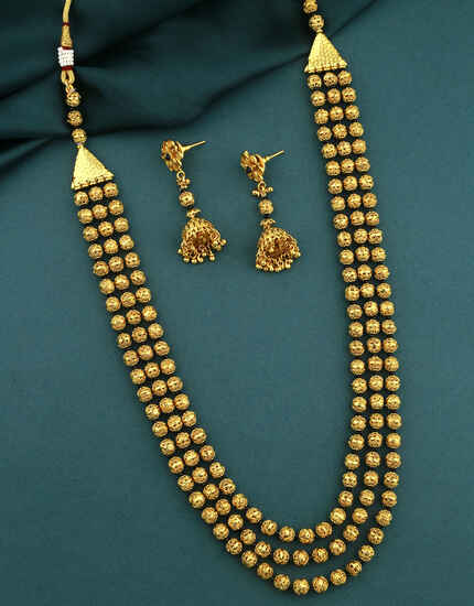 Classy Golden Finish Adorable Long-Multi-Layers Necklace Set|Traditional Bridal Necklace Set For Women & Girls