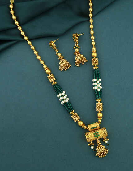 Latest Gold Finish Traditional Long Necklace Set|South indian Long Necklace Set|Long Necklace Set