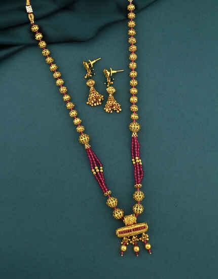 Adorable Pink Colour Traditional Long Necklace Set|South indian Long Necklace Set|Long Necklace Set