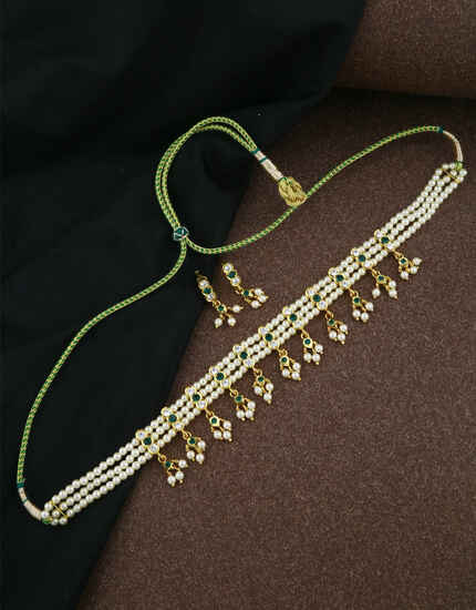 Splendid Green Colour Tradtitional Moti Necklace Set|Beads Jewellery For Women & Girls