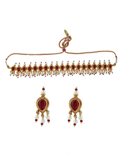 Classy Matte Golden Finish Traditional Choker Necklace For Women & Girls|South indian Jewellery|Temple Necklace Set