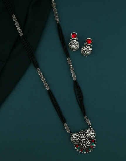 Adorable Oxidized Silver Jewellery Oxidized Mangalsutra Set For Women Maharashtrian Jewellery Necklace