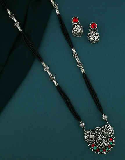 Stunning Red-Green Colour Maharashtrian Long Mangalsutra Set Daily Use Mangalsutra For Women
