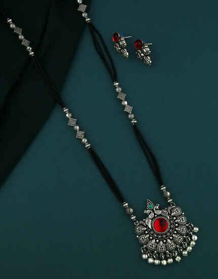 Splendid Oxidized Silver Mangalsutra Set Maharashtrian Jewellery Silver Necklace,Jewellery For Women