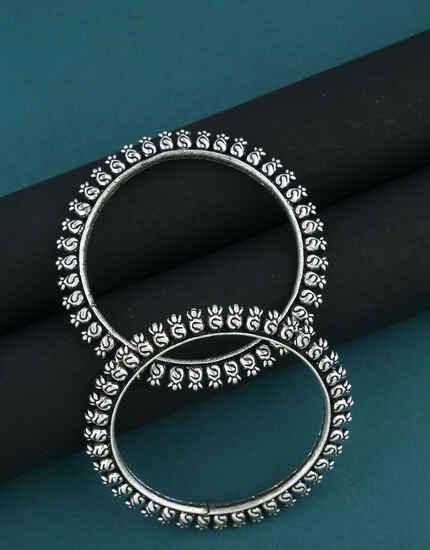 Oxidized Finish Bangles Set For Trendy Women|Maharashtrian Traditional Kada Bangles|Tribal jewellery