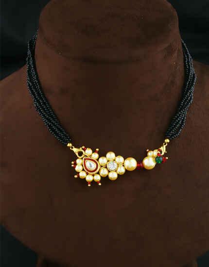 Latest Golden Colour Traditional Nath Mangalsutra|Thushi Necklace Set For Women|Maharashtrian Jewellery