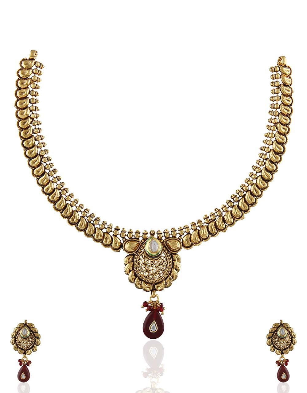 Maroon Drop Styled Antique Gold Tone Necklace