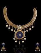 Splendid Blue Colored Necklace Set Decorated With Pearl Drops