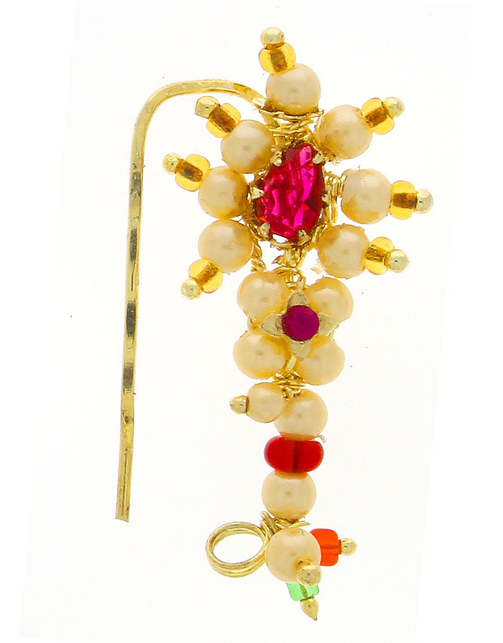 Maharashtrian Nath Embedded With Pink Colour Stone