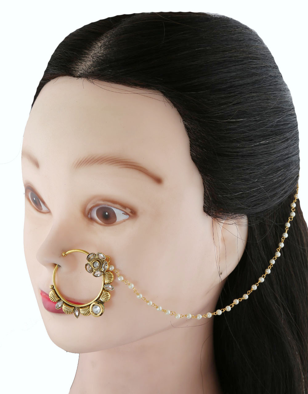 Gold Tone Beautiful Bridal Nose Ring for Women