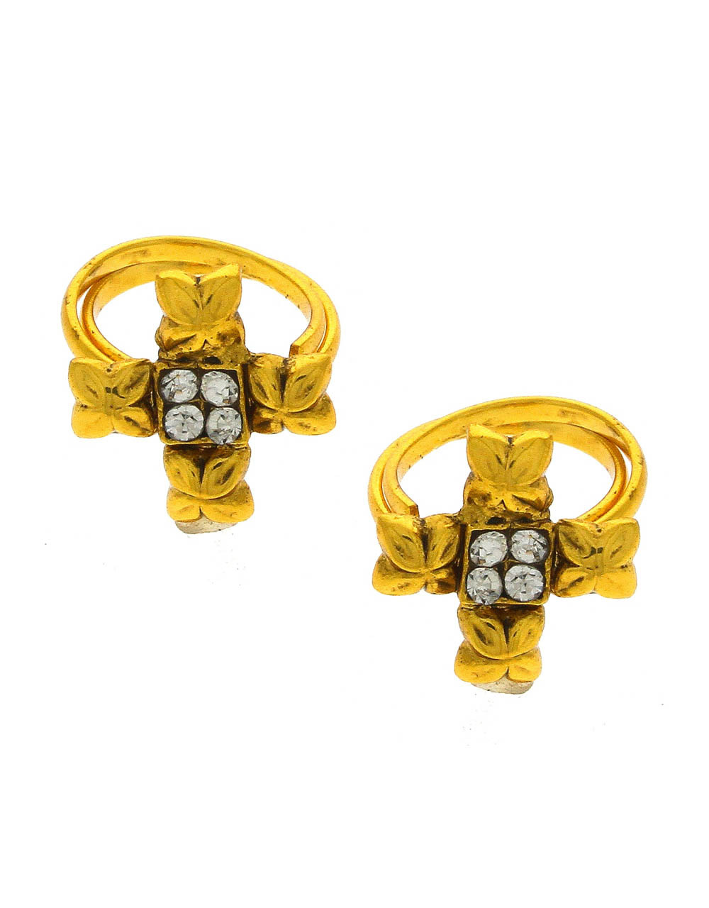 Stylish Golden Toe Rings Encrusted with Sparkling Stones