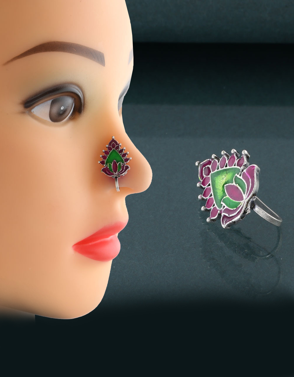 Purple Green Combination Oxidised Nose Ring