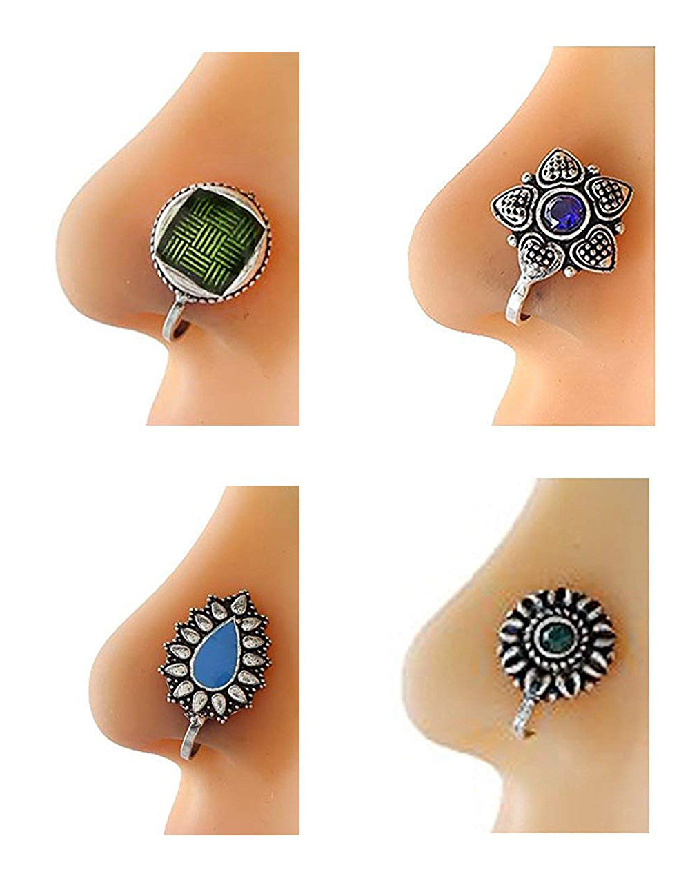 Oxidised Nose Studs Combo of Four Nose Pins for Women