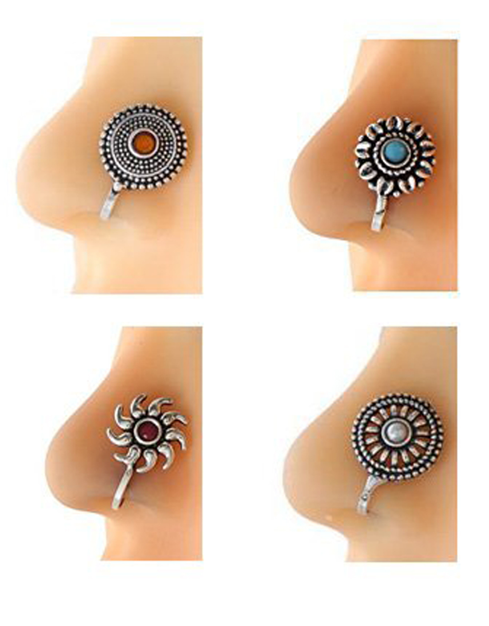 Oxidised Nose Studs Combo Pack