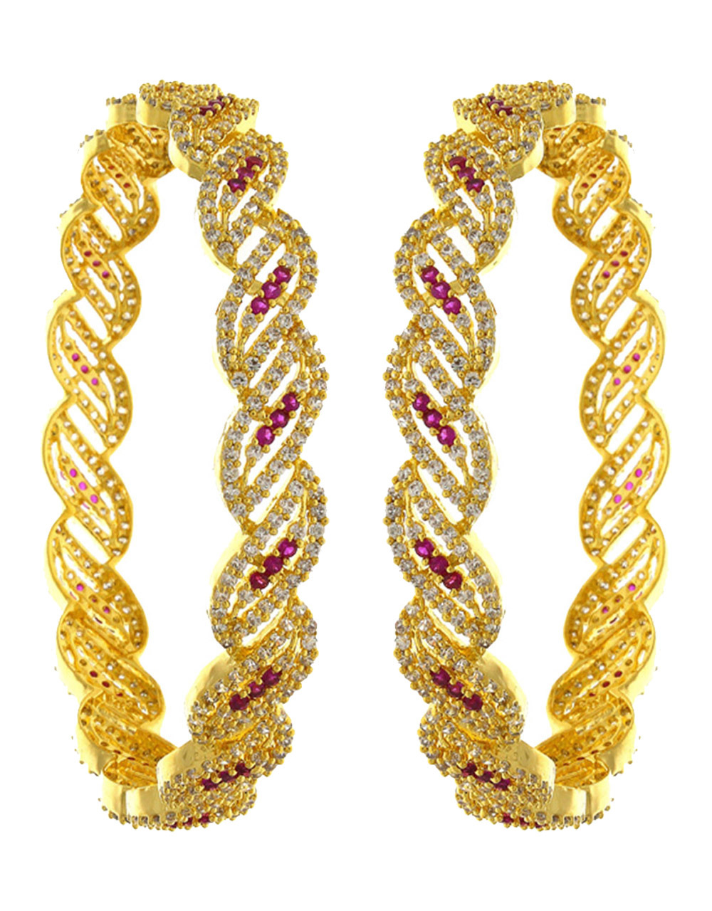 Pink colour dazzling pair American Diamond Bangles