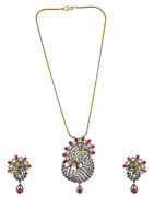 Stylish Pink Colour American Diamond Victorian Finish Pendant Set