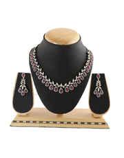 Pink Ruby Studded Designer American Diamond Necklace