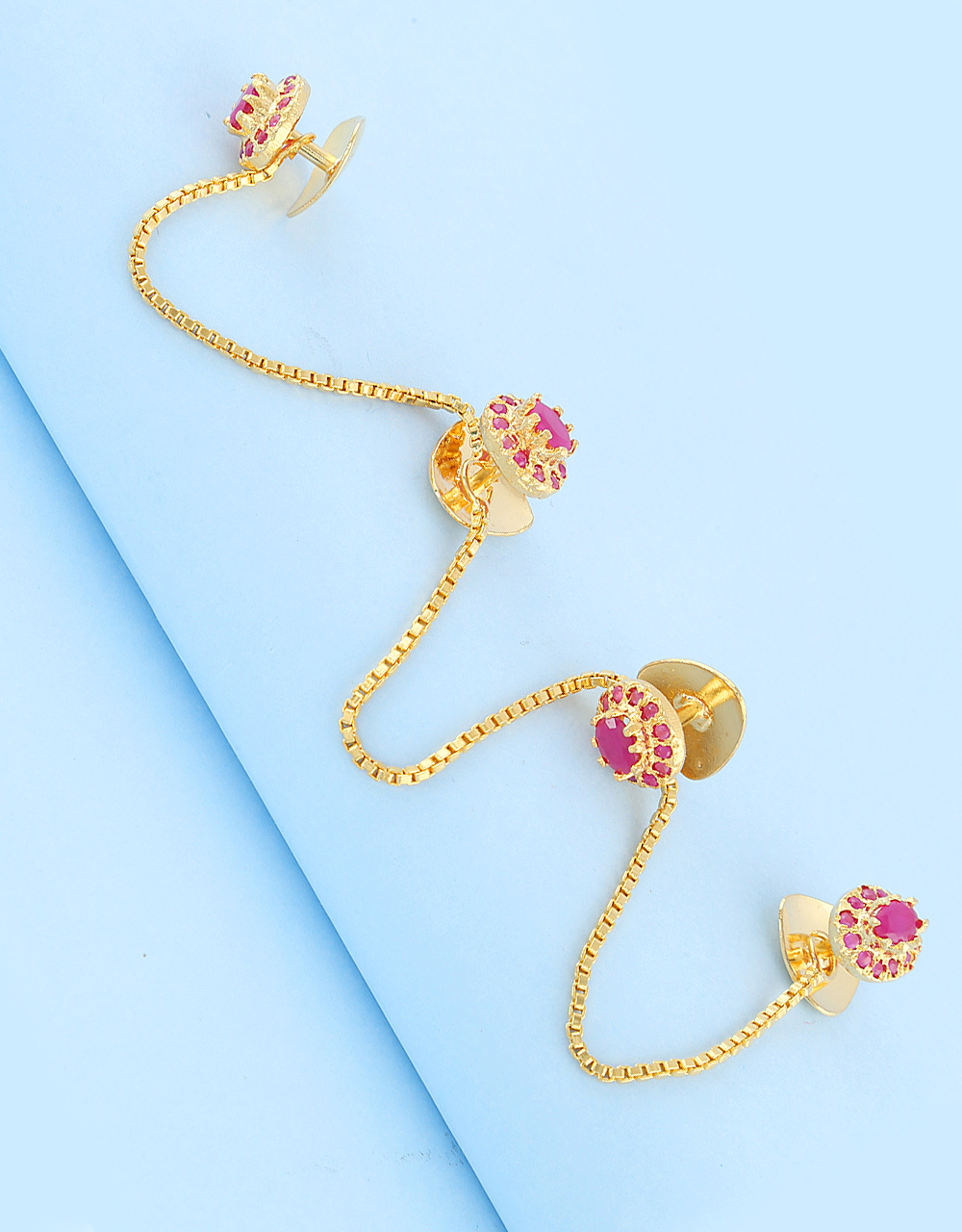Kurta Buttons: Embedded with Pink Ruby Stones