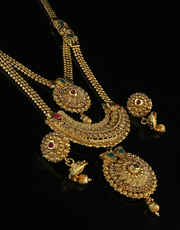 Two Layer Gold Plated Traditional Long Necklace