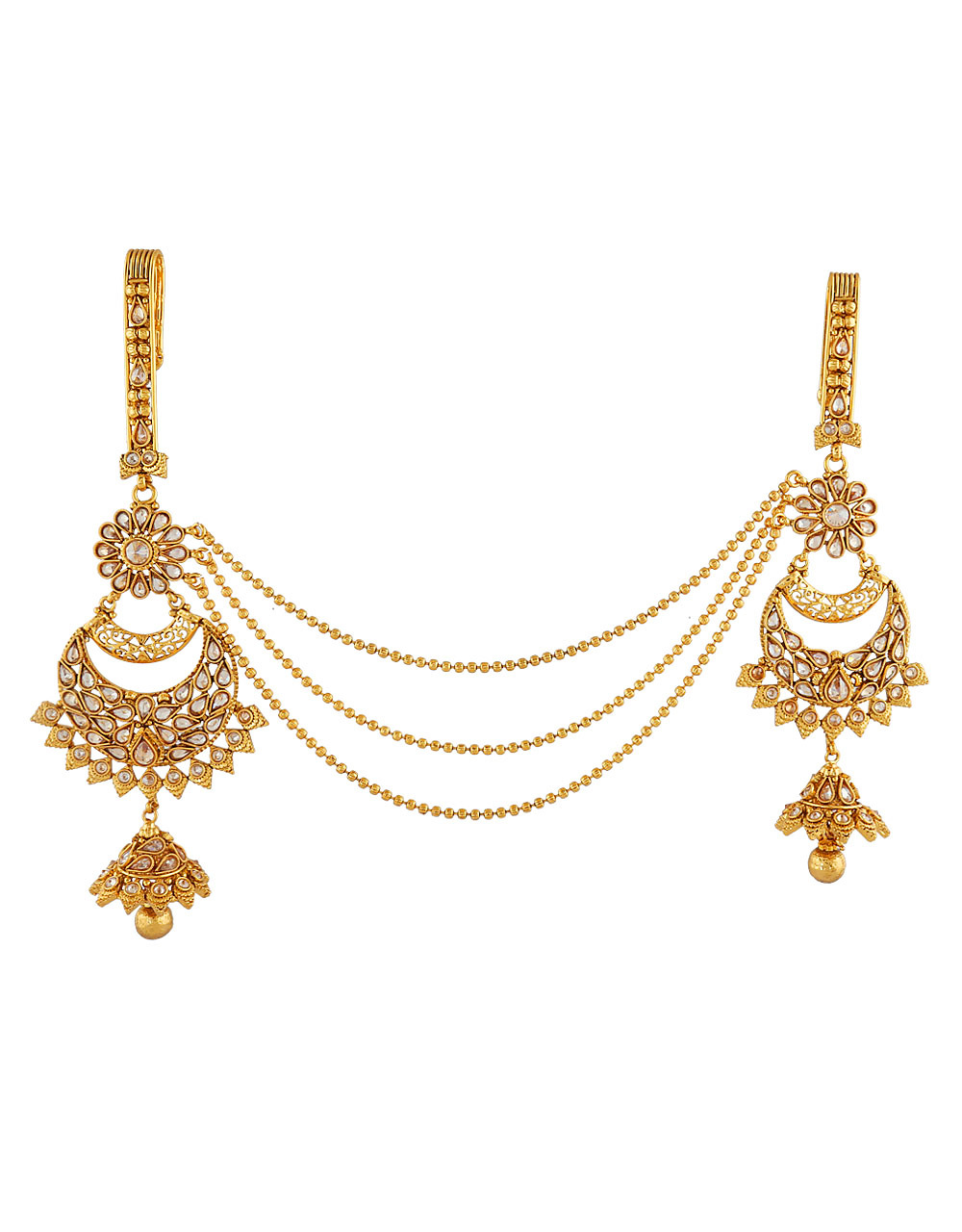 Gold Plated Two Hook Chabi Challa Studded with Sparkling Stones