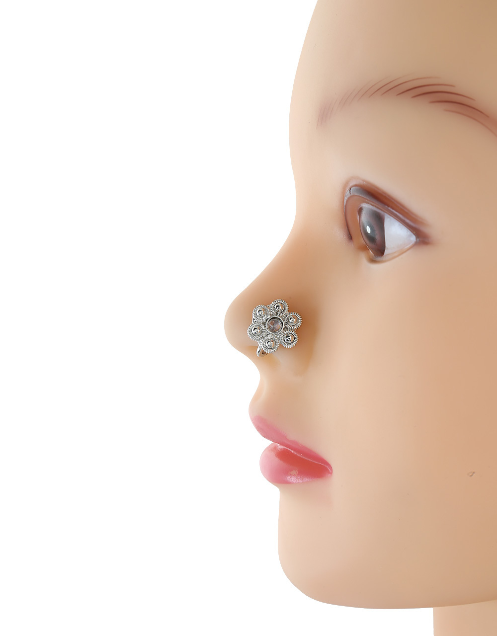 Oxidised Nose Pin Studded With Stone for Women