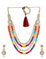 Multi Colour Beaded Jewellery Set With Studded