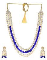 Blue Colour Beaded Design Necklace Pattern With Adjustable Gonda