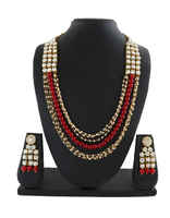 Red Colour Fashion Beads Jewellery Set